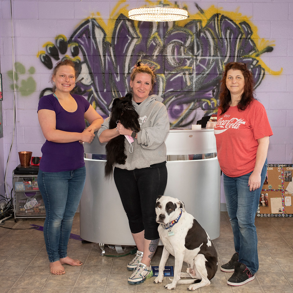Stephanie Nawyn, Assistant Manager, owner, Kim Myers, and Manager Christa Wagner Curtin at Bow Wow Boutique.