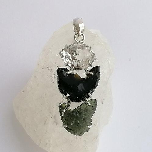 Trinity - Moldavite, Herkimer Diamond, Tektite