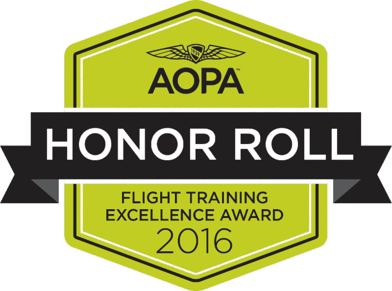 2016 AOPA Flight Training Excellence Award 'Honor Roll' Winner