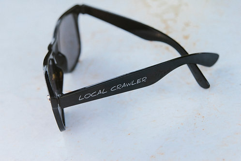 SUN GLASSES - Black with silver text