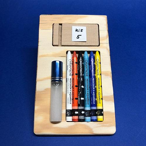 Kit 5 avec 6 Néocolors II - blanc, orange, bleu clair, bleu ultramarine, jaune