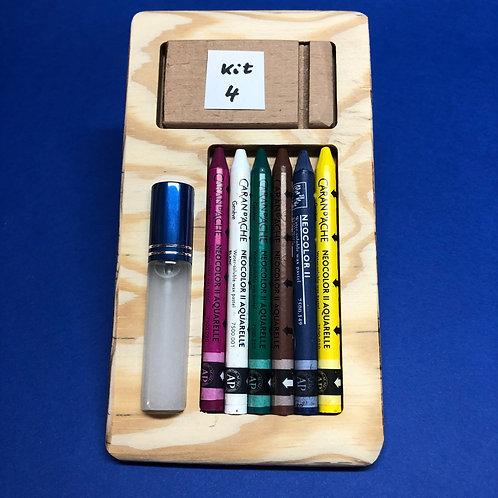 Kit 4 avec 6 Néocolors II - Pourpre, blanc, vert émeraude, brun, bleu, jaune