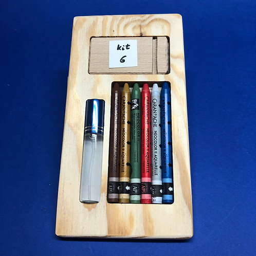 Kit 6 avec 6 Néocolors II - brun, ocre, vert, rouge, gris, bleu de cobalt