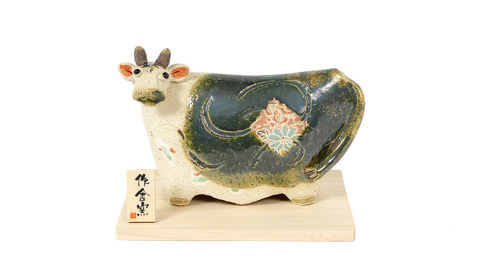 K21-09 丑 織部たたら飾り(大)