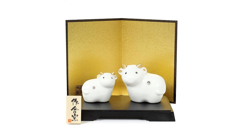 K20-19 丑 金彩磁器飾り・親子