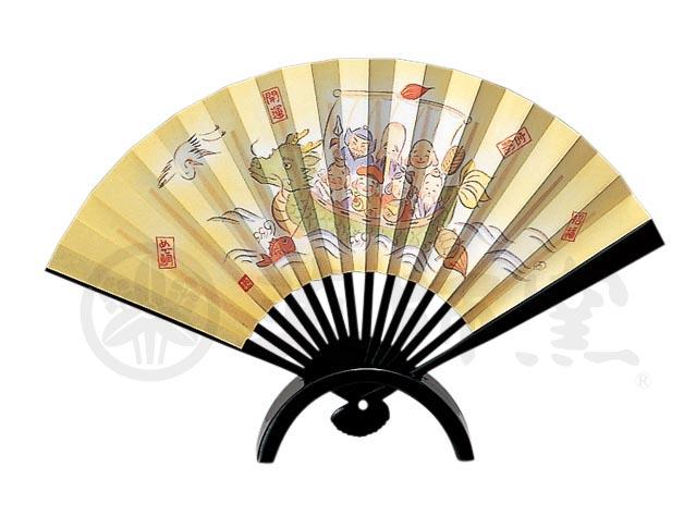 139七福神宝船飾扇(陶製飾台付)