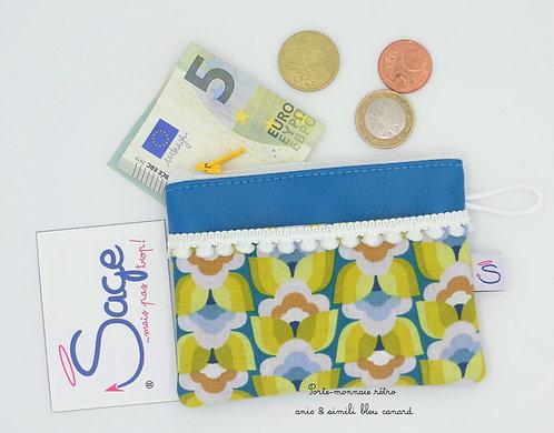Porte-monnaie rétro anis & bleu canard