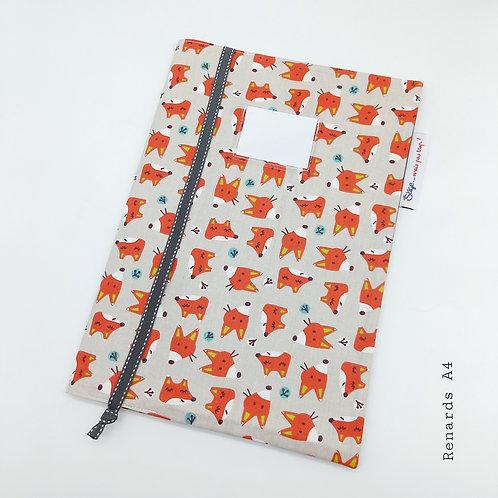 Couverture A4 - Renards/couleur (grand cahier)