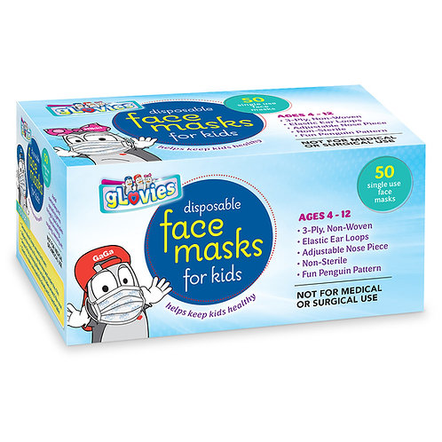 gLovies Disposable Face Masks for Kids Grab 'N Pull Box 50 count