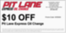 Pit Lane Express Oil Change Coupon