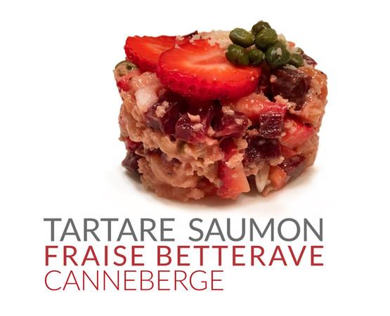 TARTARE SAUMON FRAISE BETTERAVE CANNEBERGE