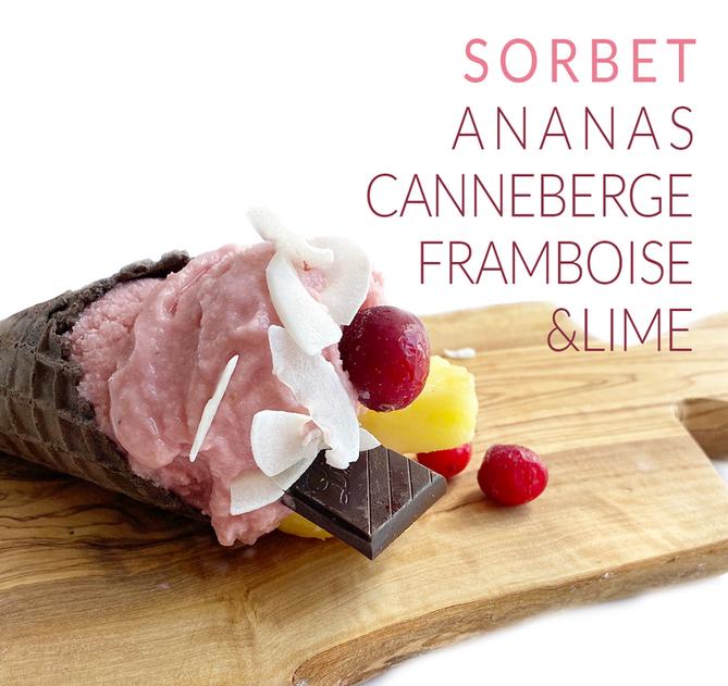 SORBET ANANAS' CANNEBERGE, FRAMBOISE & LIME
