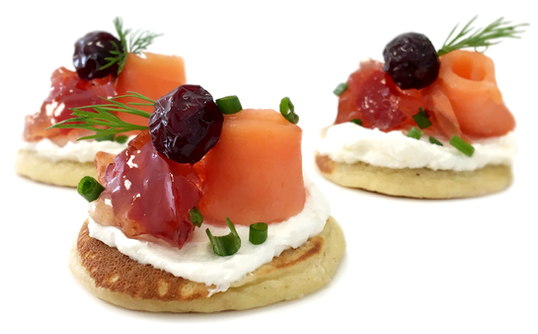 CRANBERRY, PEPPER & SMOKED SALMON BLINIS