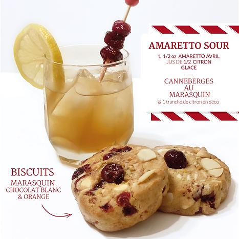 AMARETTO SOUR et biscuit au marasquin chocolat blanc et orange