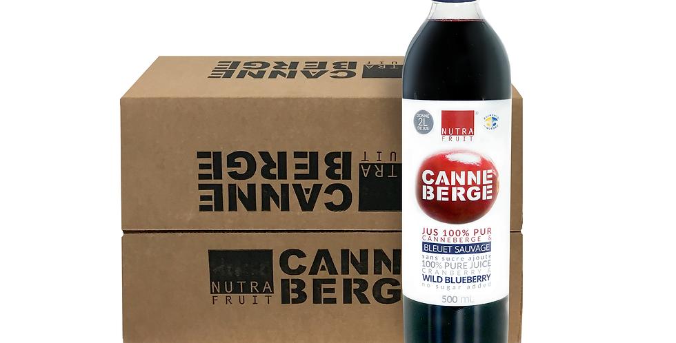 CAISSE DE 12 JUS 100% PUR CANNEBERGES & BLEUETS SAUVAGES SANS SUCRE 500 ml