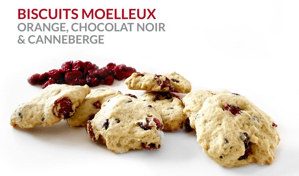 BISCUITS MOELLEUX ORANGE, CHOCOLAT NOIR  & CANNEBERGE