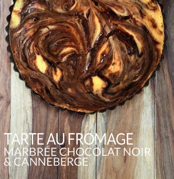Tarte au fromage marbrée au chocolat noir canneberge