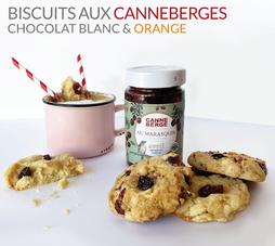 BISCUITS  AUX CANNEBERGES CHOCOLAT BLANC ET ORANGE