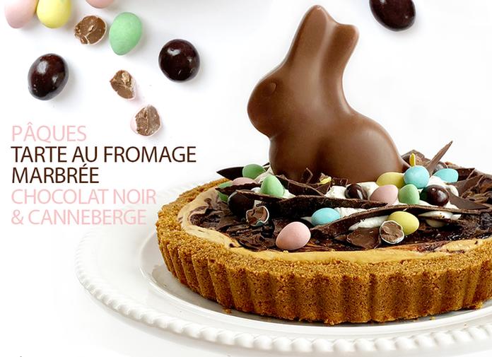 PÂQUES, TARTE AU FROMAGE MARBRÉE CHOCOLAT NOIR & CANNEBERGE