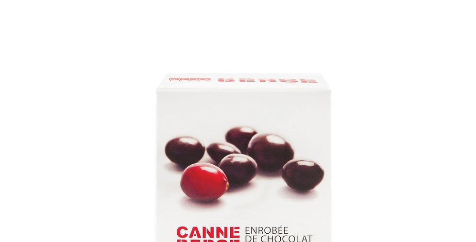 BOÎTE CANNEBERGE ENROBÉE DE CHOCOLAT NOIR 120 g
