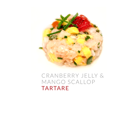 CRANBERRY JELLY & MANGO SCALLOP TARTARE-