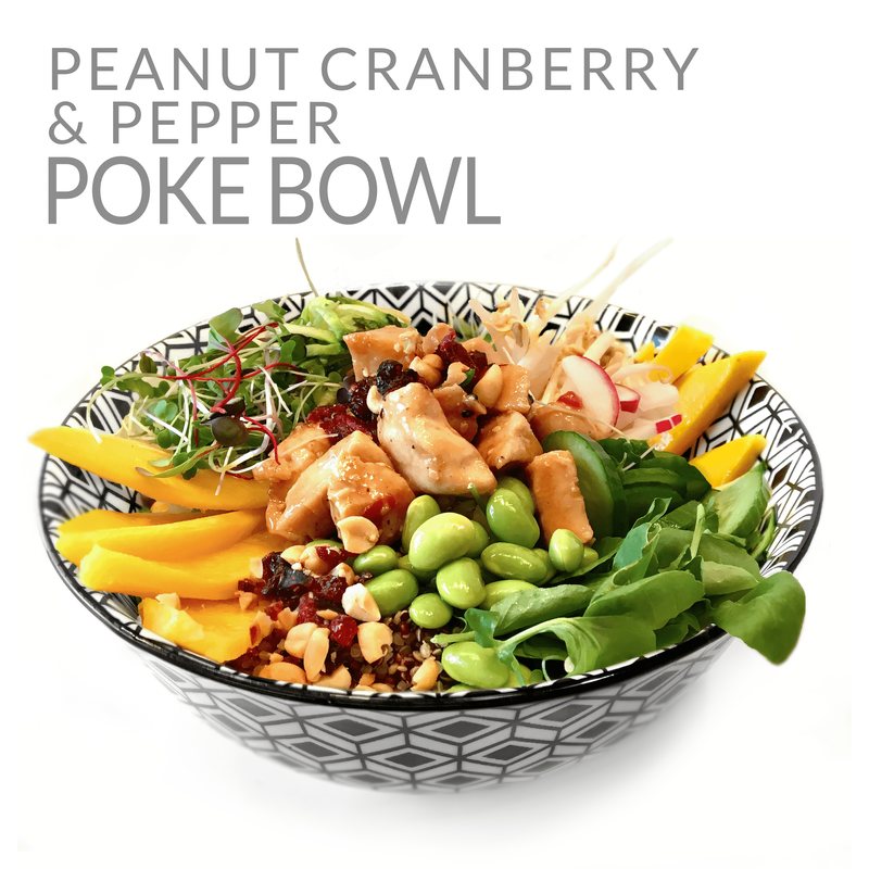PEANUT, CRANBERRY & PEPPER POKE BOWL