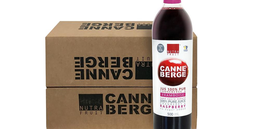 CAISSE DE 12 JUS 100% PUR CANNEBERGES & FRAMBOISES SANS SUCRE 500 ml