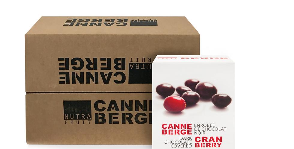 CAISSE DE 16 BOÎTE CANNEBERGE ENROBÉE DE CHOCOLAT NOIR 120 g