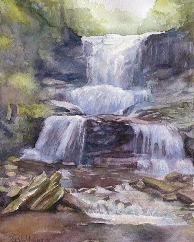 #watercolor #Painting Waterfall referenc