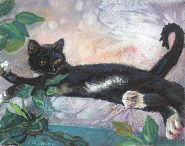 """Phillip the Cat"" Watercolor background with #stabilo pastel pencils, #panpastels 9.5 x 12 on pastel"