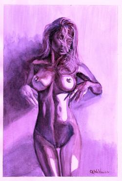 Puple Girl in Watercolor