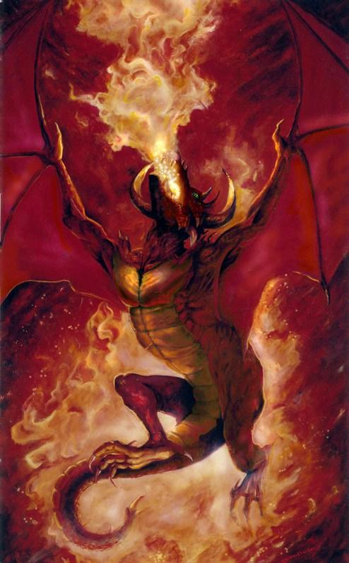 Dragon Burning, Oil painting
