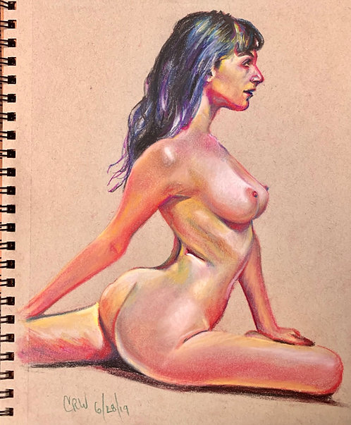 "Figure drawing ""BRYNNA""Pastel on Toned Paper ""9x12"""