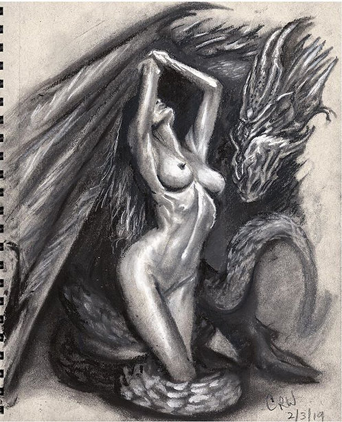 """Nena Art"" Charcoal Art 9""x12"" Toned Tan Paper"