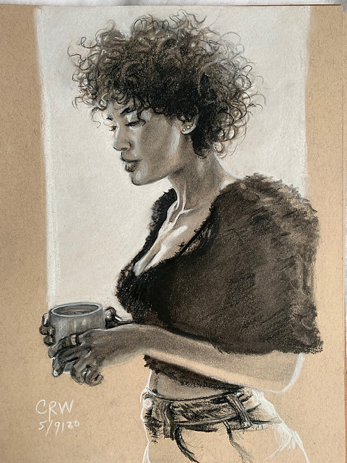Portrait of Andy Allo~Charcoal Drawing On Tan Toned Paper