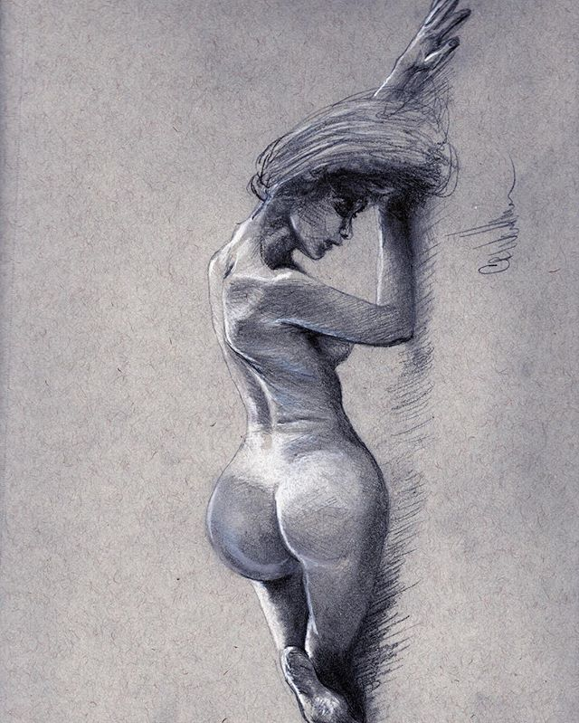 "New Figure drawing!! ""✍️Graphite with wh"