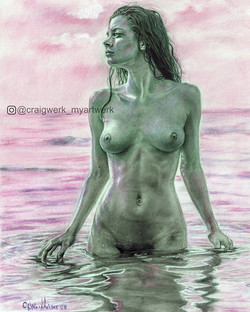 """Finished Figure drawing!! """"Women in Water"""" ✍️Graphite #rotring with #carbothello pastel pencils 11 x"""