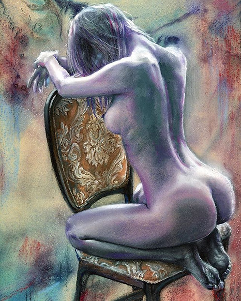 """Purple with Chair"" Pastel Painting with watercolor background 9""x12"""