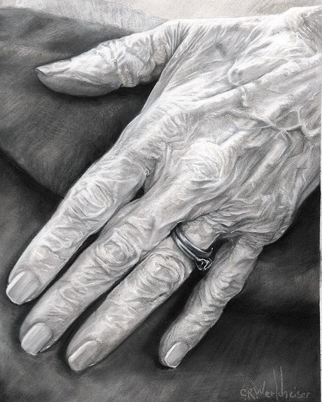 """Beloved Grandmother's Hand"" #stabilo pastel pencils, #panpastels #graphitedrawing 9x12"" on #Pastelm"
