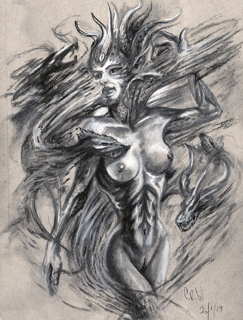 """Dragon Queen"" Charcoal Drawing 9""x12"" on Gray Toned Paper"