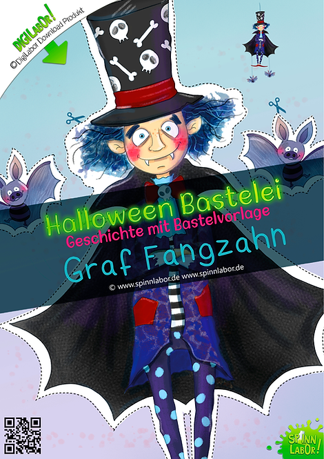 Graf Fangzahn Halloween Bastelei Bastelbögen zum Downloaden