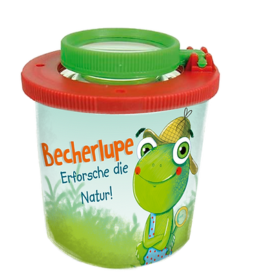 Becherlupe Fidu Frosch + Geschichte