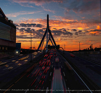 Zakim Bridge, sunset