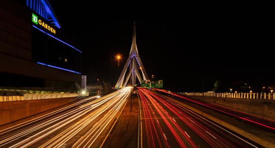 Zakim Bridge, night view