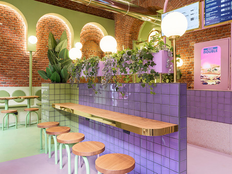Masquespacio uses blocks of colour to break up interior of Milan burger joint
