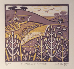 Fields and Furrows Reduction lino cut by