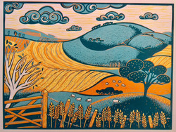Beyond the Gate Reduction Lino Cut by Di