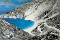 Myrtos Beach by Jackie Pearce Oil on canvs 90 x 60cm
