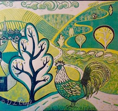 Linocut Print by Diana Croft