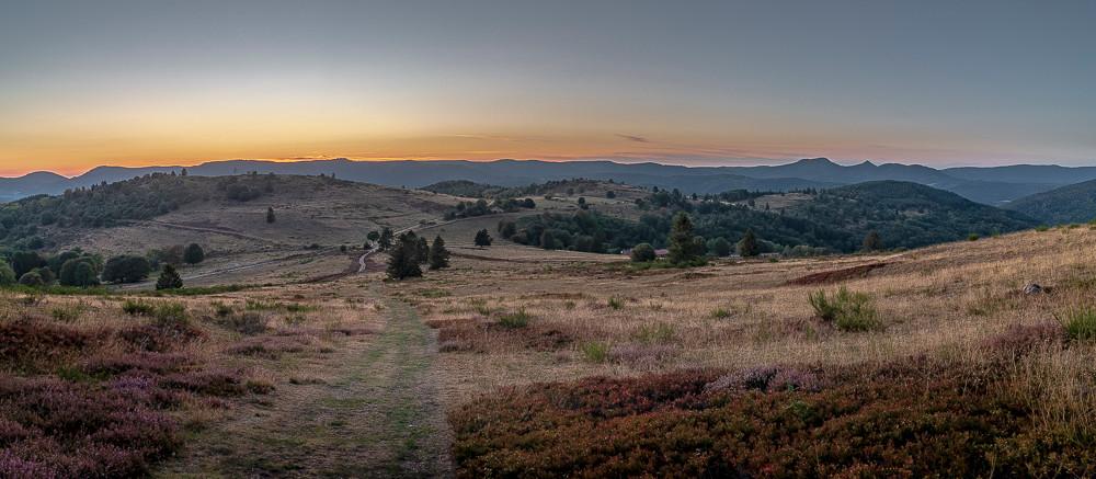 plateau de montagne et foret au coucher du soleil